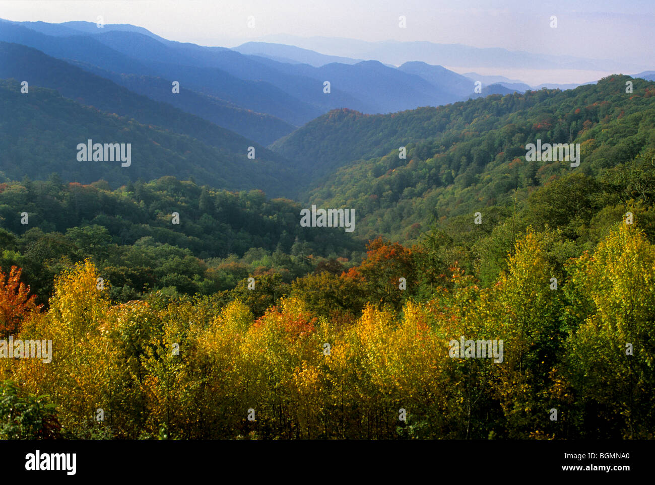 Spectacular fall colors grace the traditional homelands of the Cherokee Indians on the Qualla Indian Reservation, NC. Stock Photo