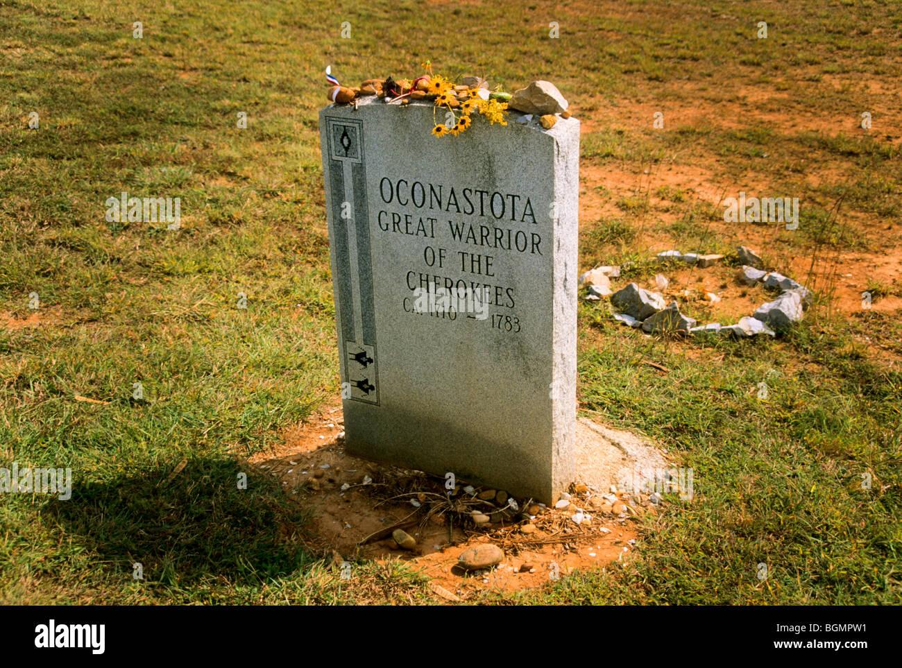 Oconastota, great warrior of the Cherokees 1720-1783 memorial in Tennessee Stock Photo