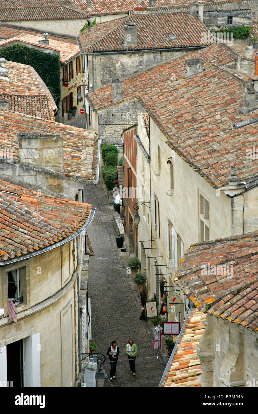 Roof top view red tile roofs Bordeaux vineyard town St Emilion France - Stock Image