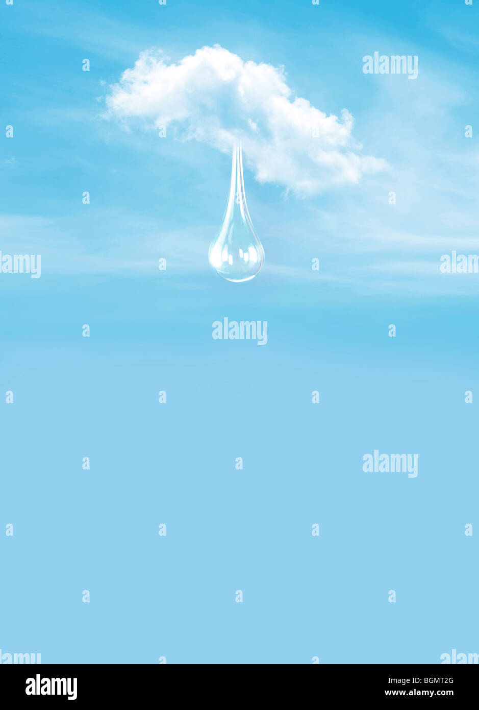 giant water droplet comes from a cloud - Stock Image