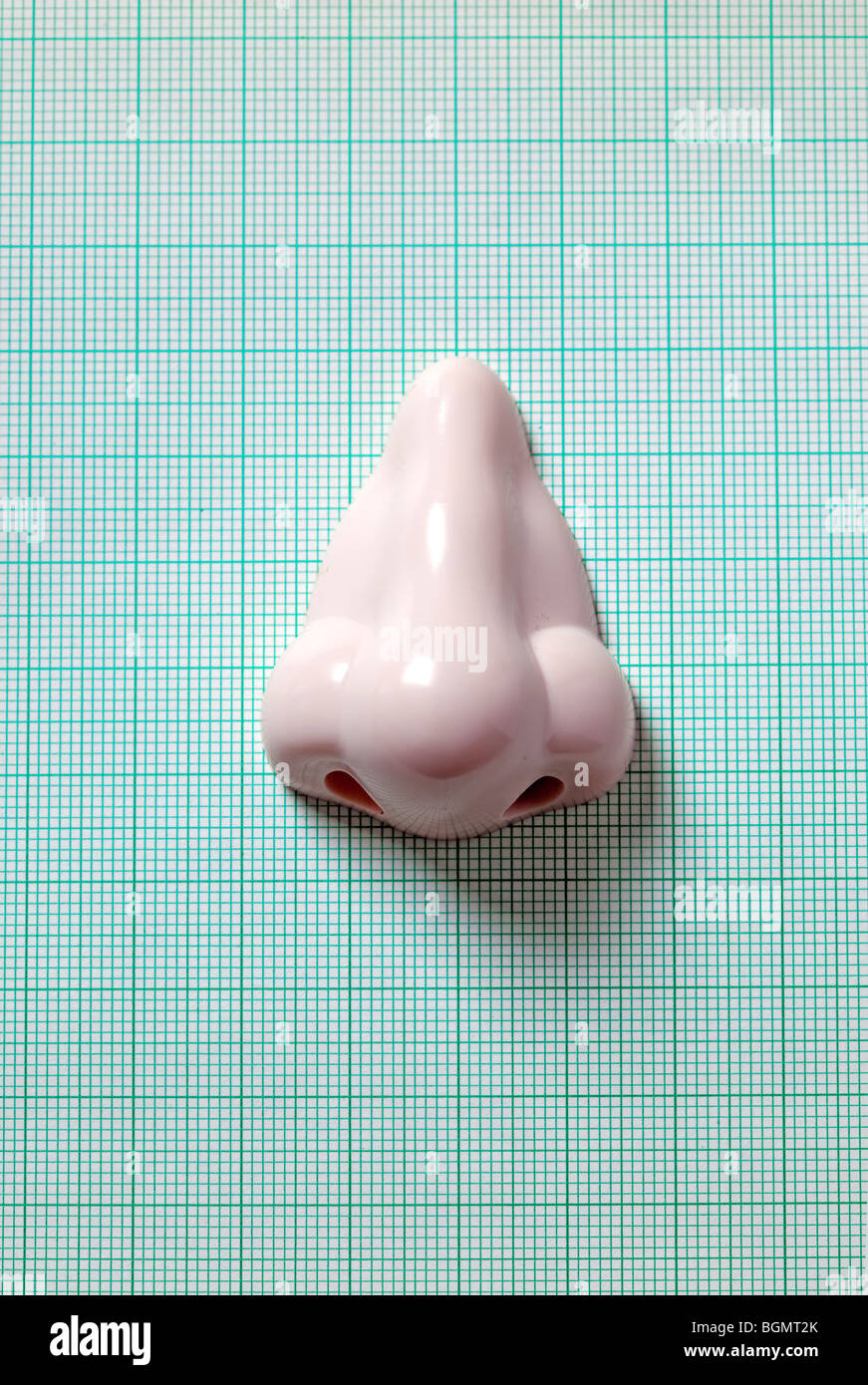 plastic nose on green graph paper - Stock Image