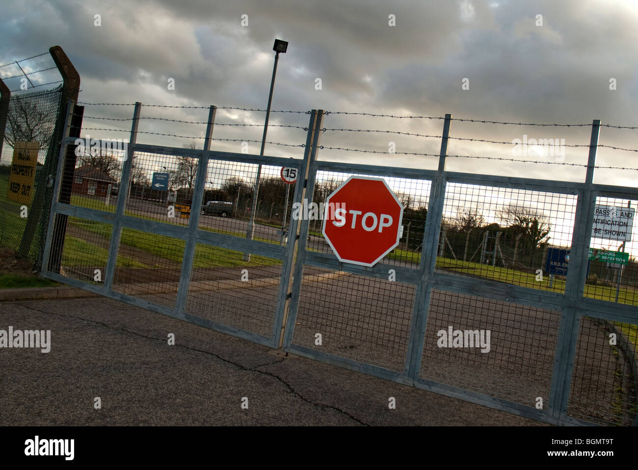 stop sign on security gate - Stock Image