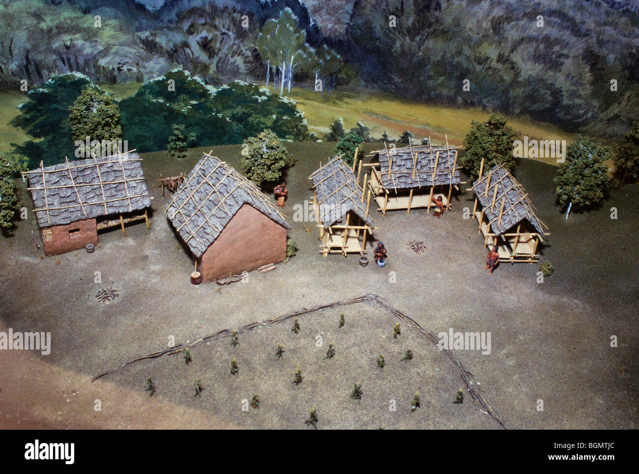 Model of a traditional Cherokee village with winter and summer homes and a village garden. Stock Photo