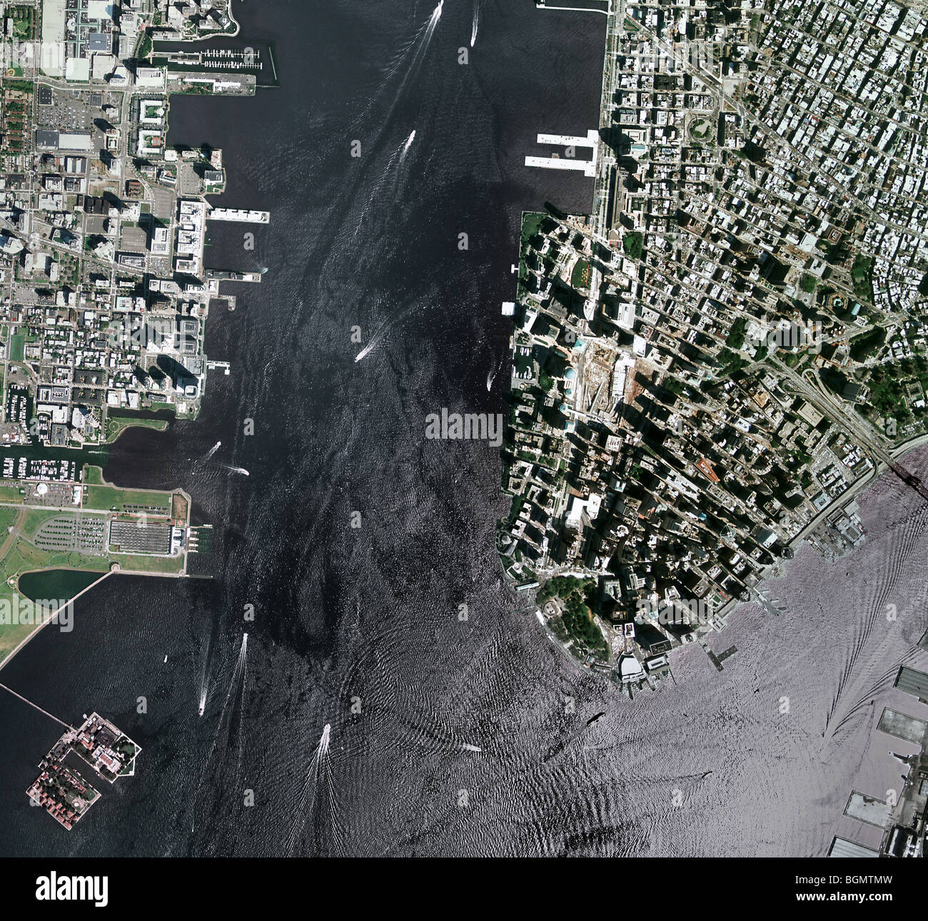 Map Of New York Harbour.Aerial Map View Above New York Harbor Downtown Manhattan And World