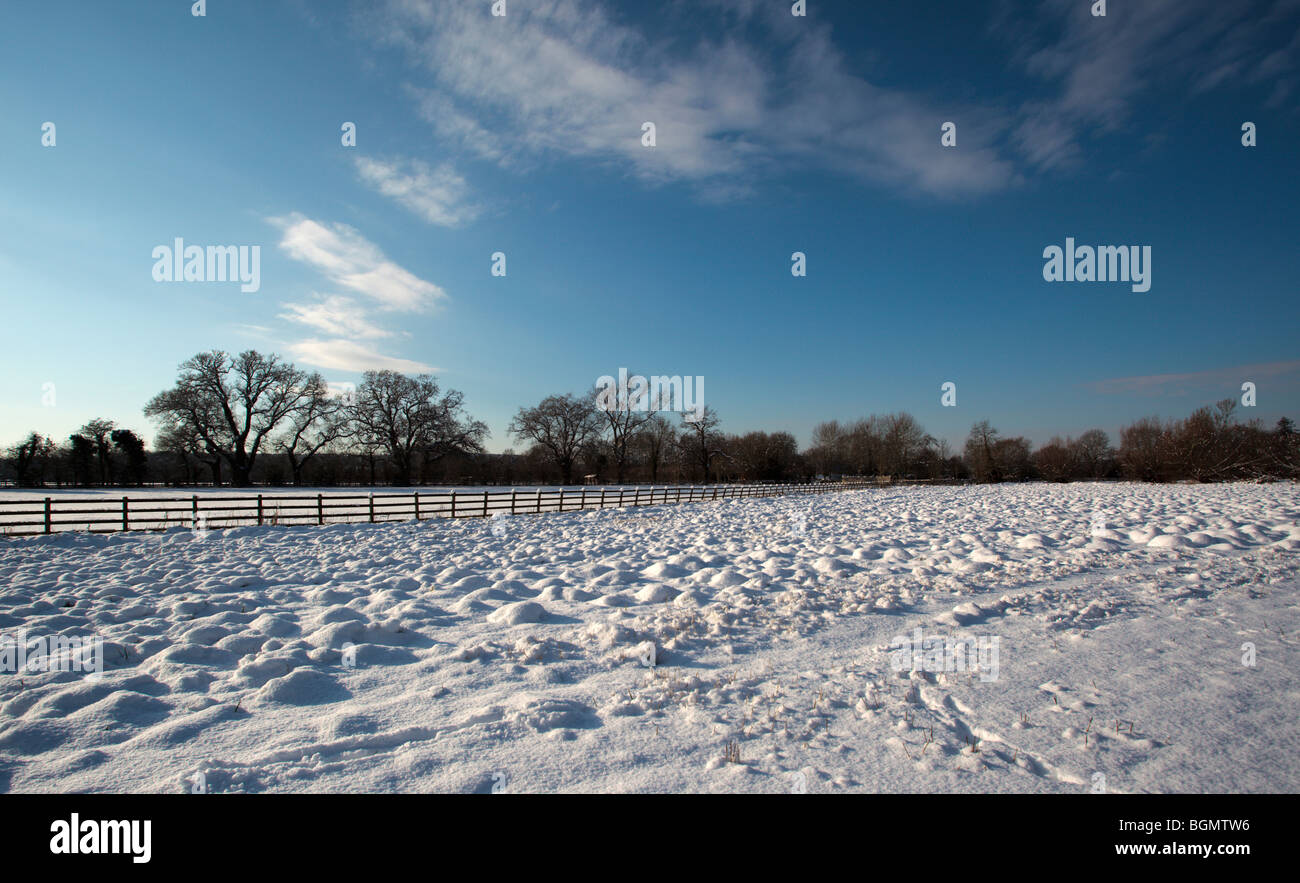 Rural snow scene during the great 21010 freeze Oxfordshire England UK - Stock Image