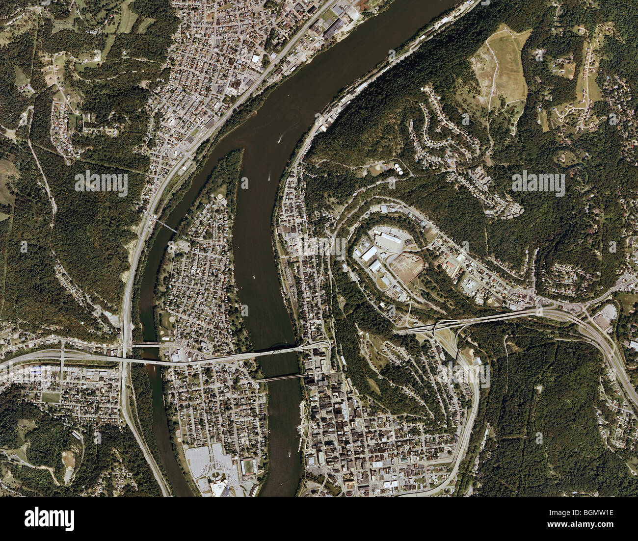 aerial map view above Wheeling West Virginia Ohio river Wheeling