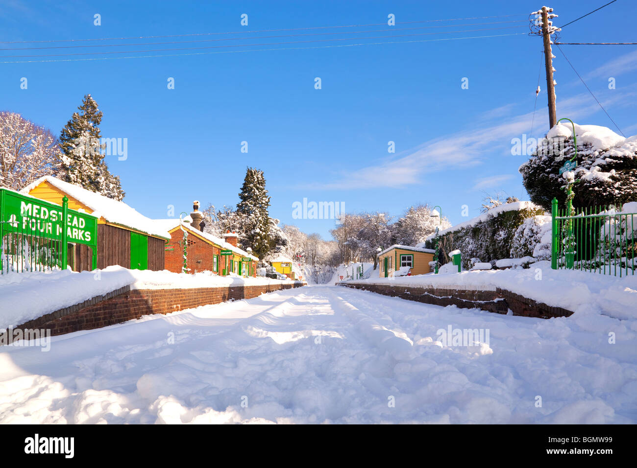 Four Marks and Medstead railway station after a heavy snow fall - Stock Image