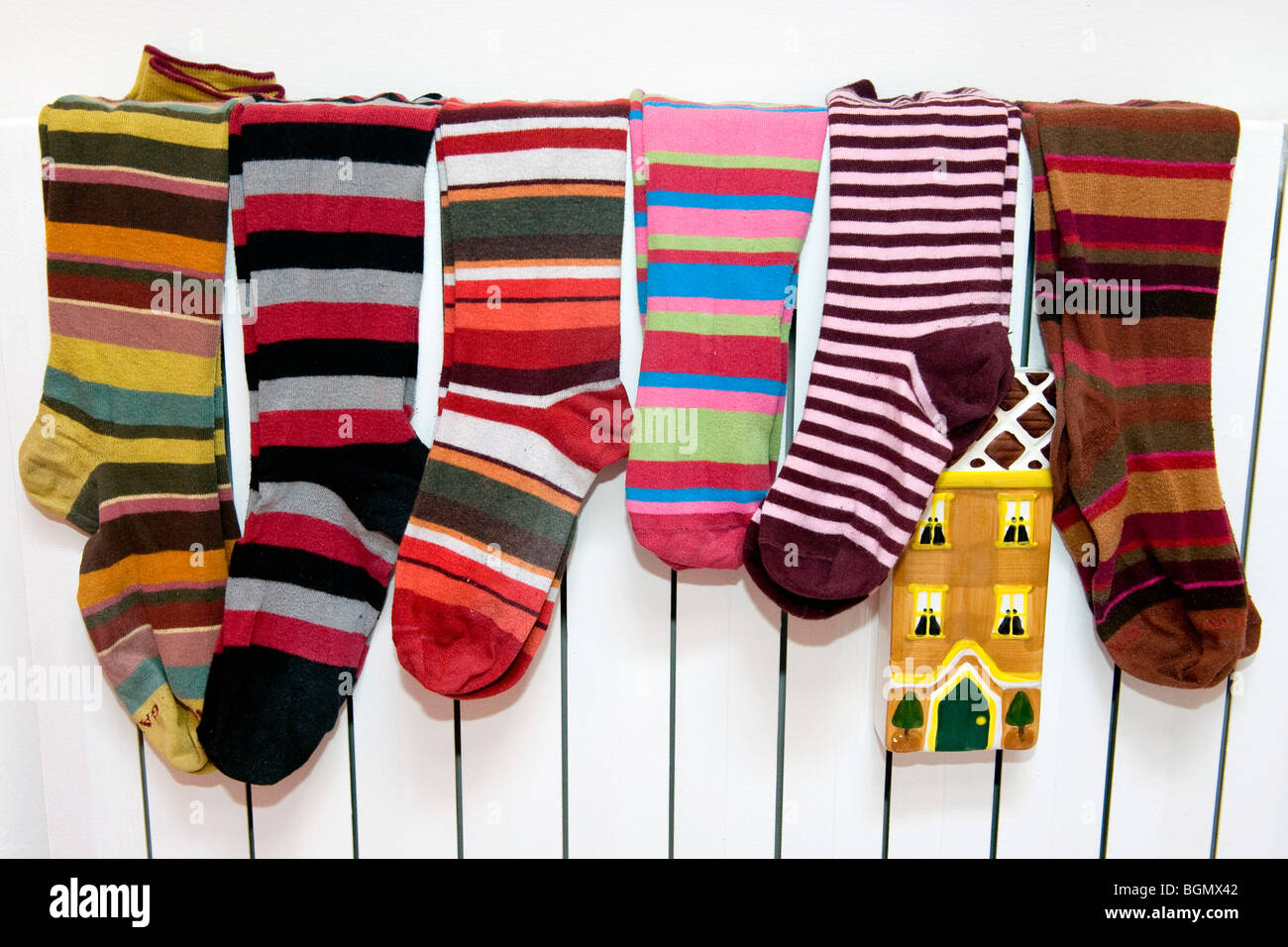 The colored striped socks - Stock Image