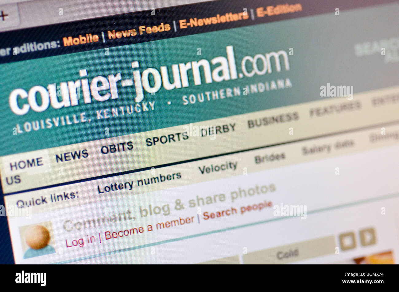 Courier Journal website - Stock Image