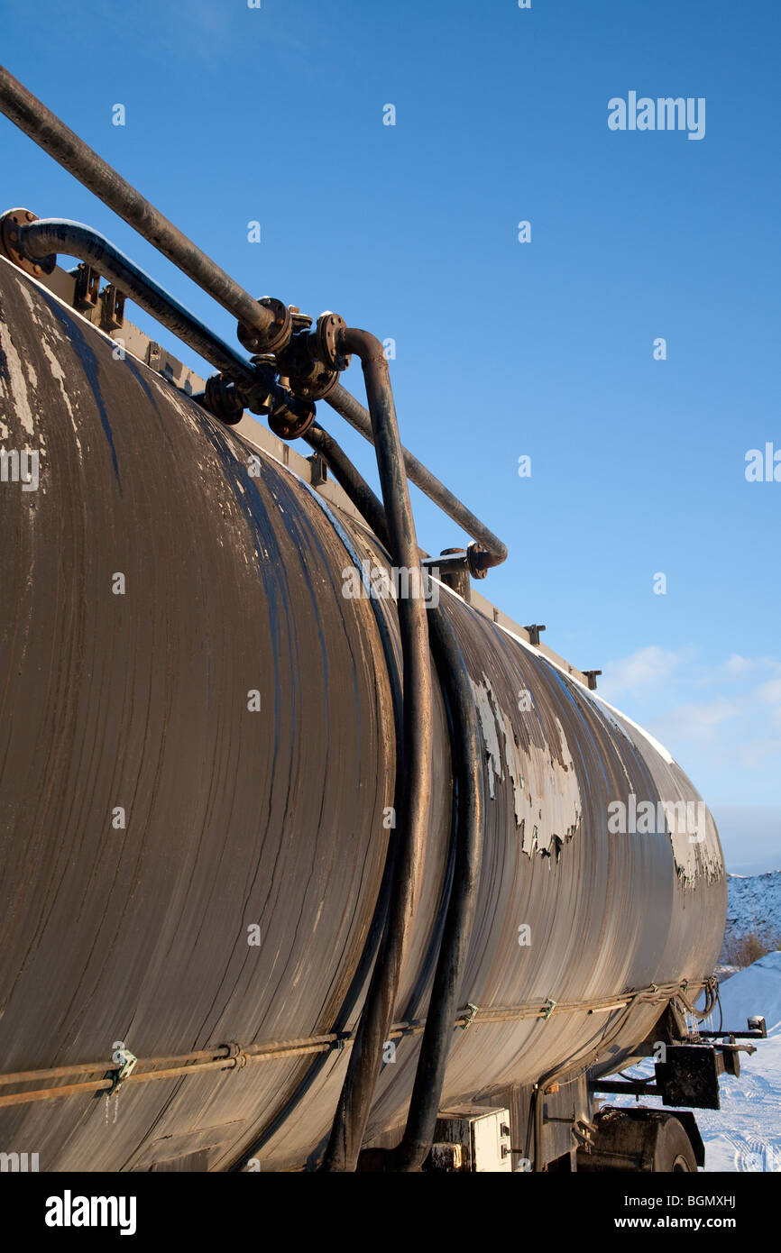 Pipes on tanker truck trailer - Stock Image