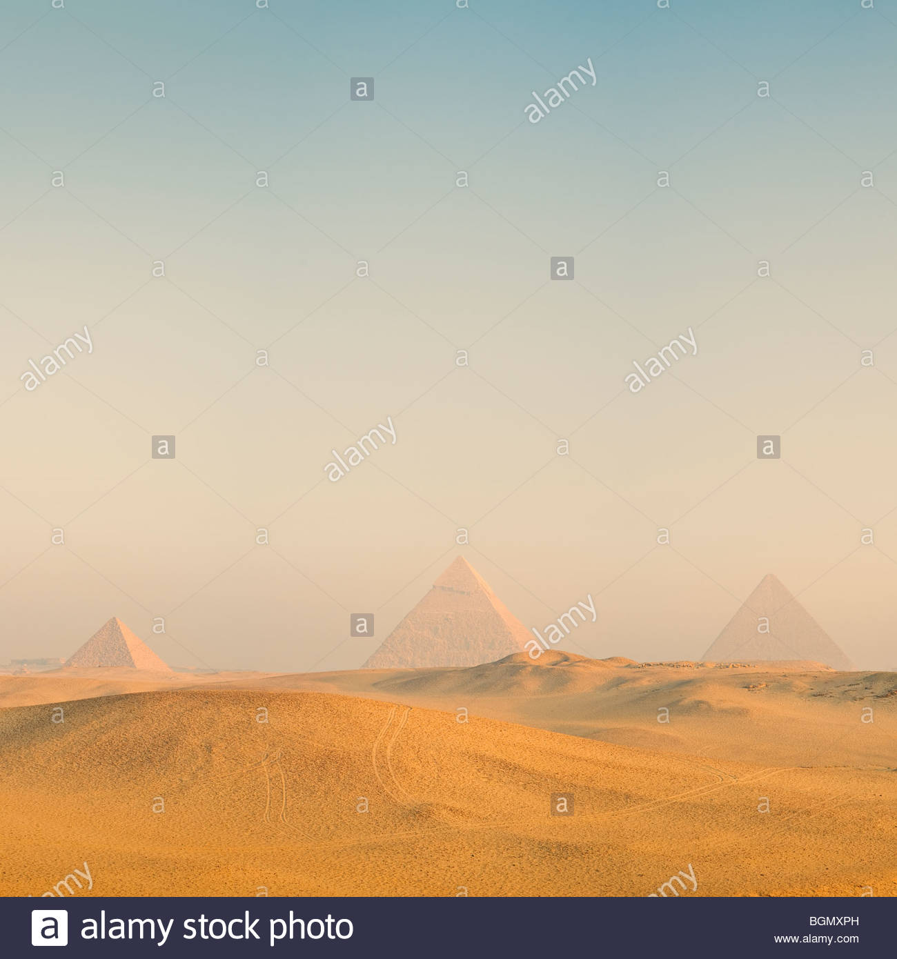 The Great Pyramids of Giza at sunrise, Cairo, Egypt. - Stock Image