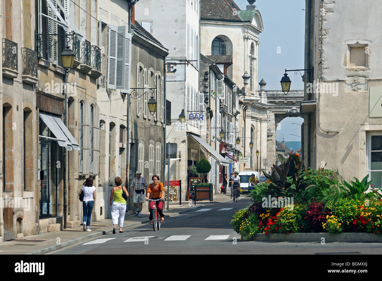 Street in the historical centre of Beaune, France - Stock Image