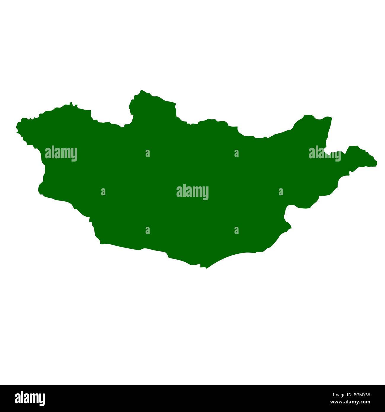 Mongolia map isolated on white background. - Stock Image