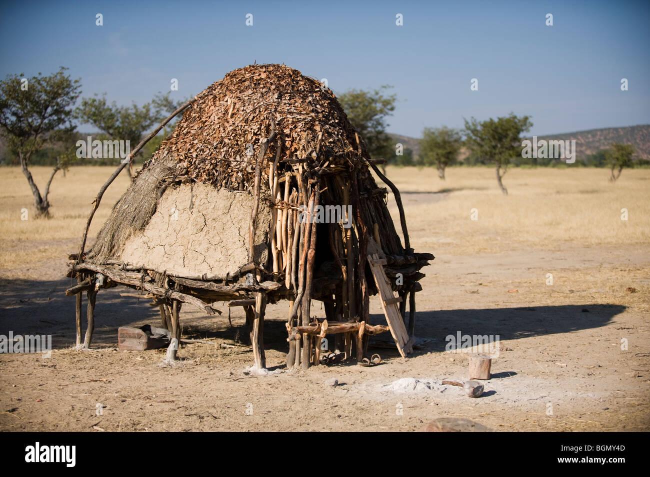 Himba village storage huts kaokoland, namibia - Stock Image