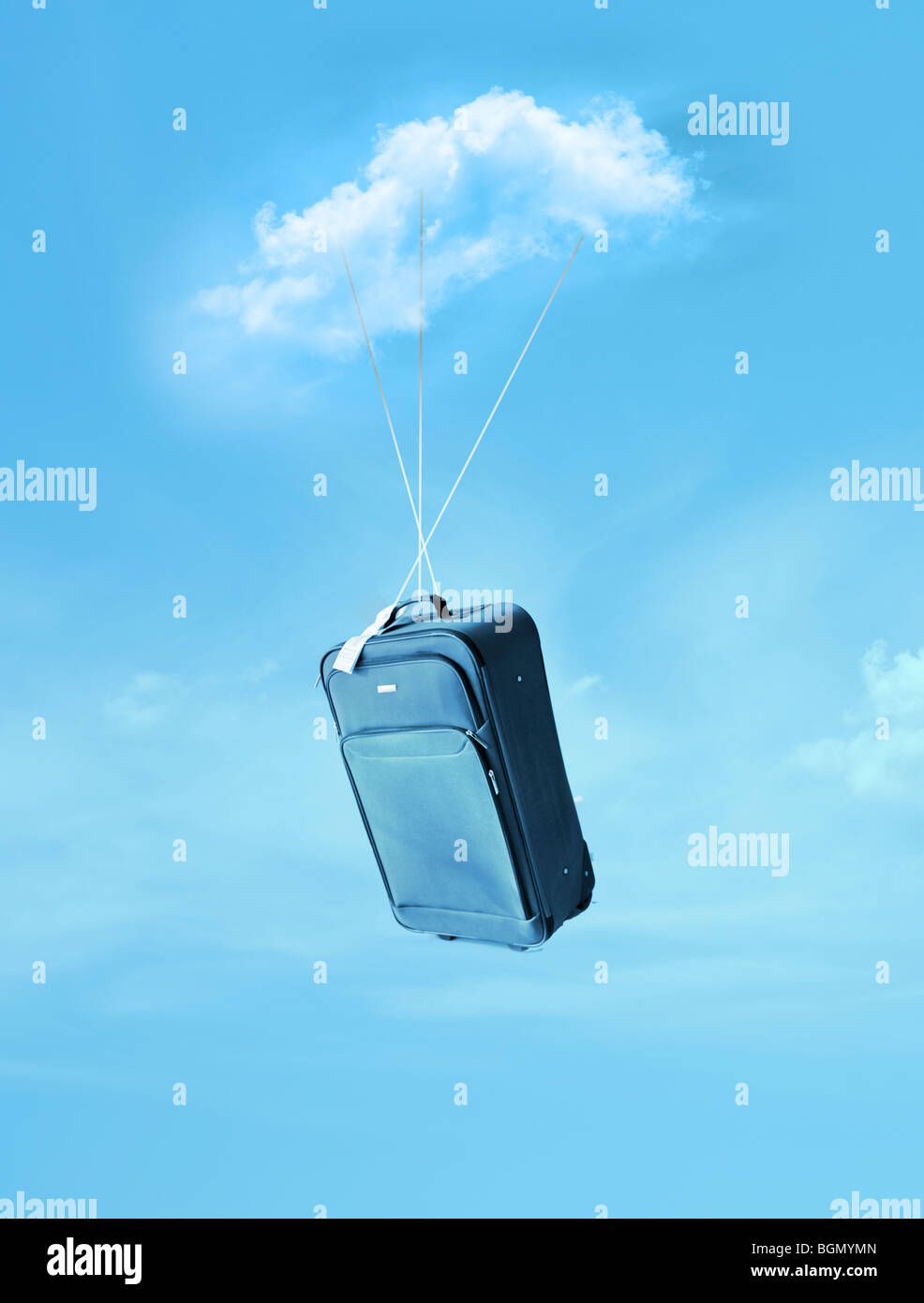 flying suitcase - Stock Image