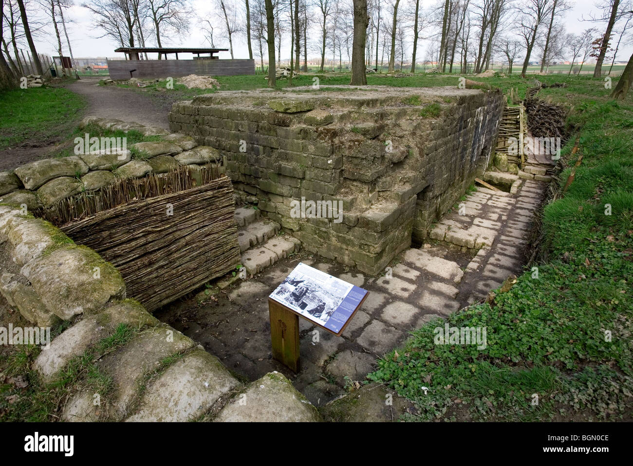 Bayernwald, a site with German WW1 trenches from the First World War at Wijtschate, Kemmel, Belgium - Stock Image
