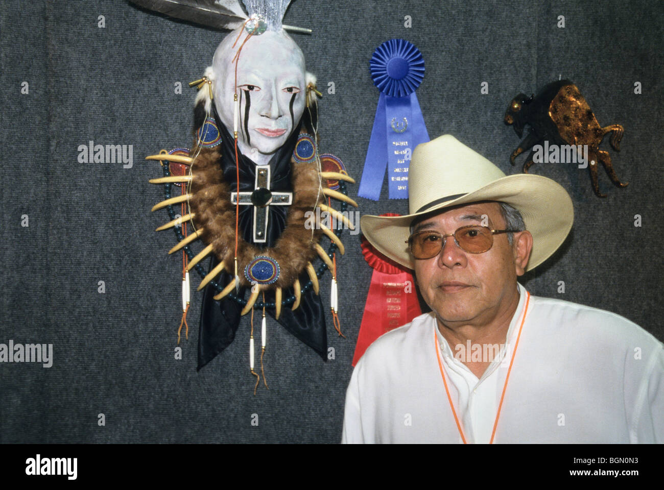 Contemporary Native American raku clay artist exhibits his award winning sculpture during the Red Earth Pow Wow Festival, OK Stock Photo