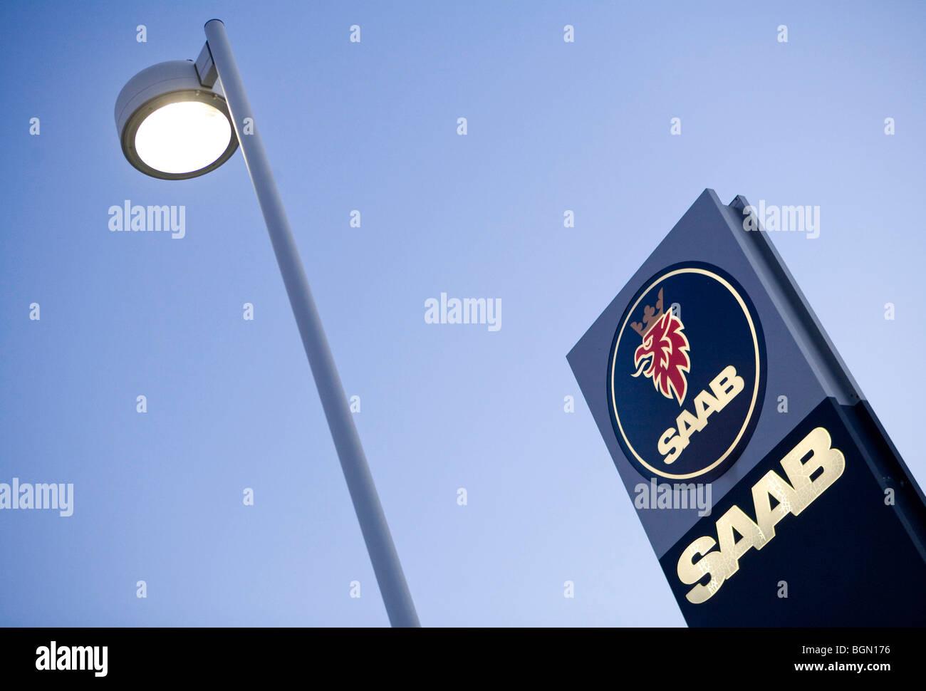 A Saab dealer lot.  - Stock Image