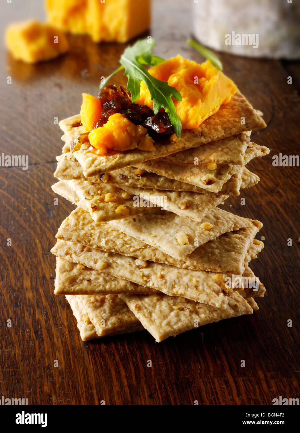 Cheese and biscuits with Red Leicester cheese - Stock Image