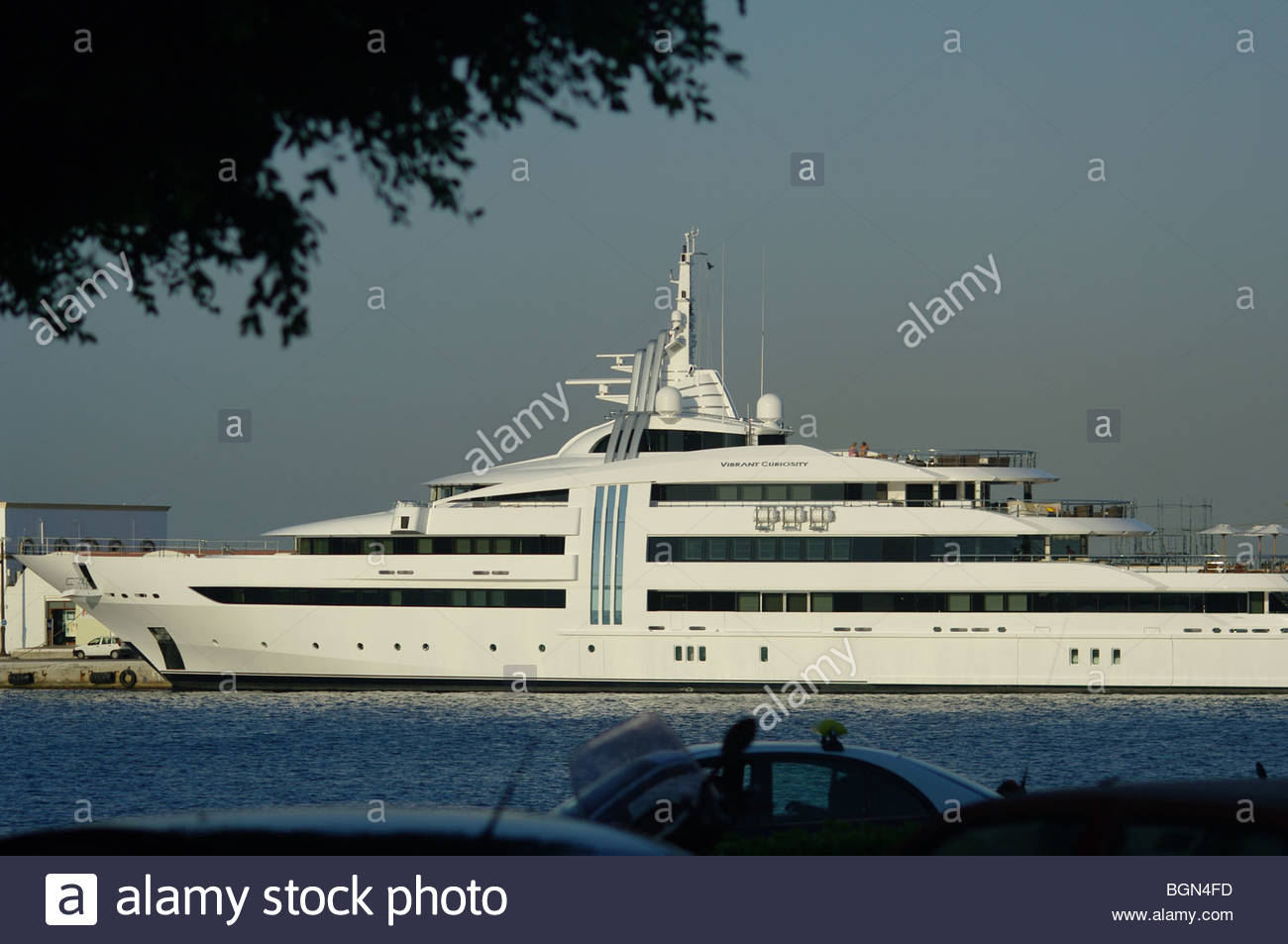 Windows on a large expensive private luxury motor cruiser Stock Photo