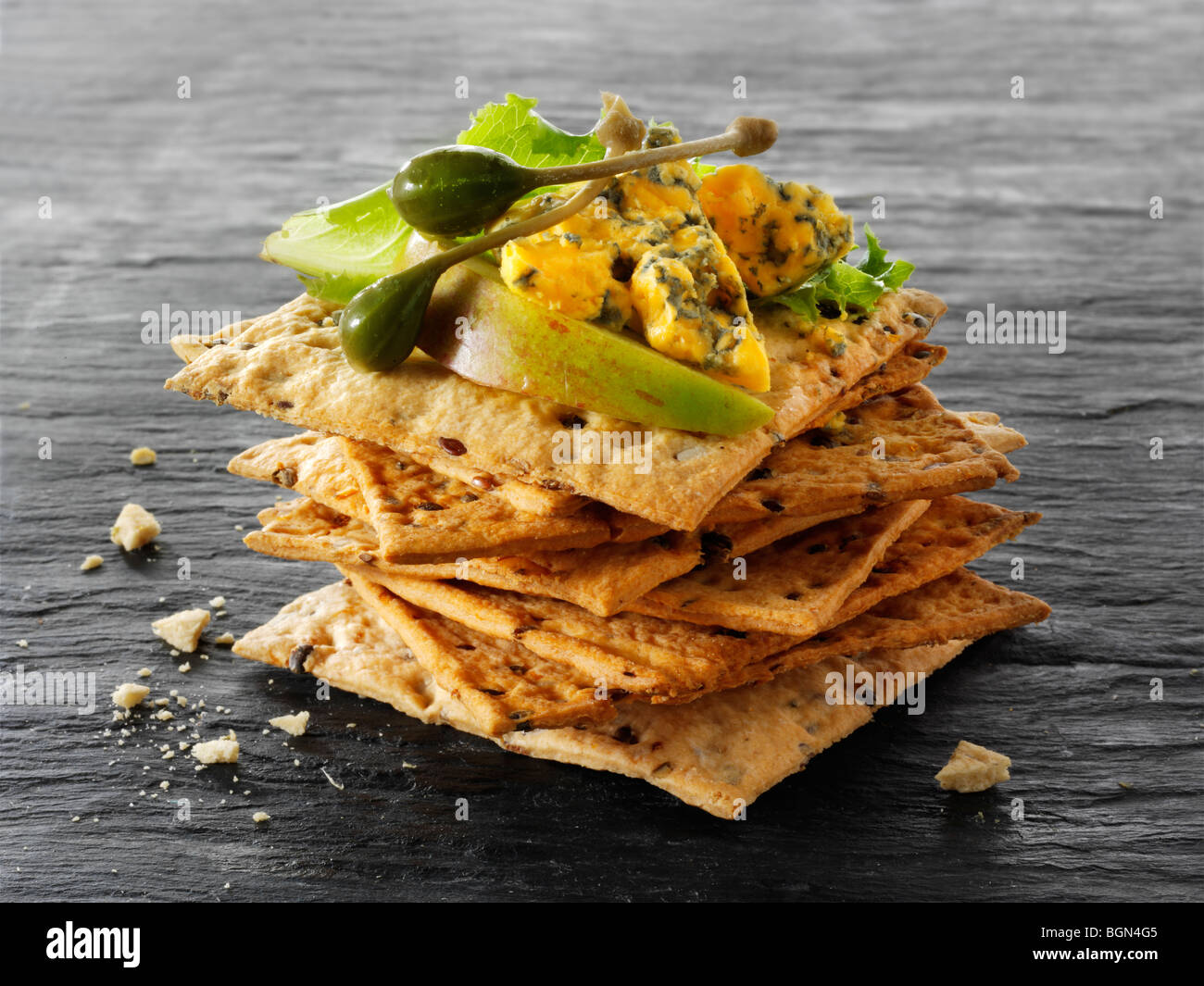 Cheese and biscuits with Blacksticks blue cheese - Stock Image