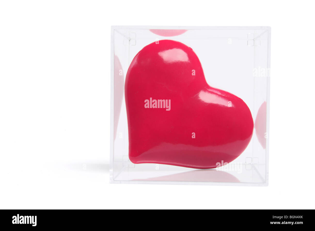 Red Love Heart in Plastic Box - Stock Image