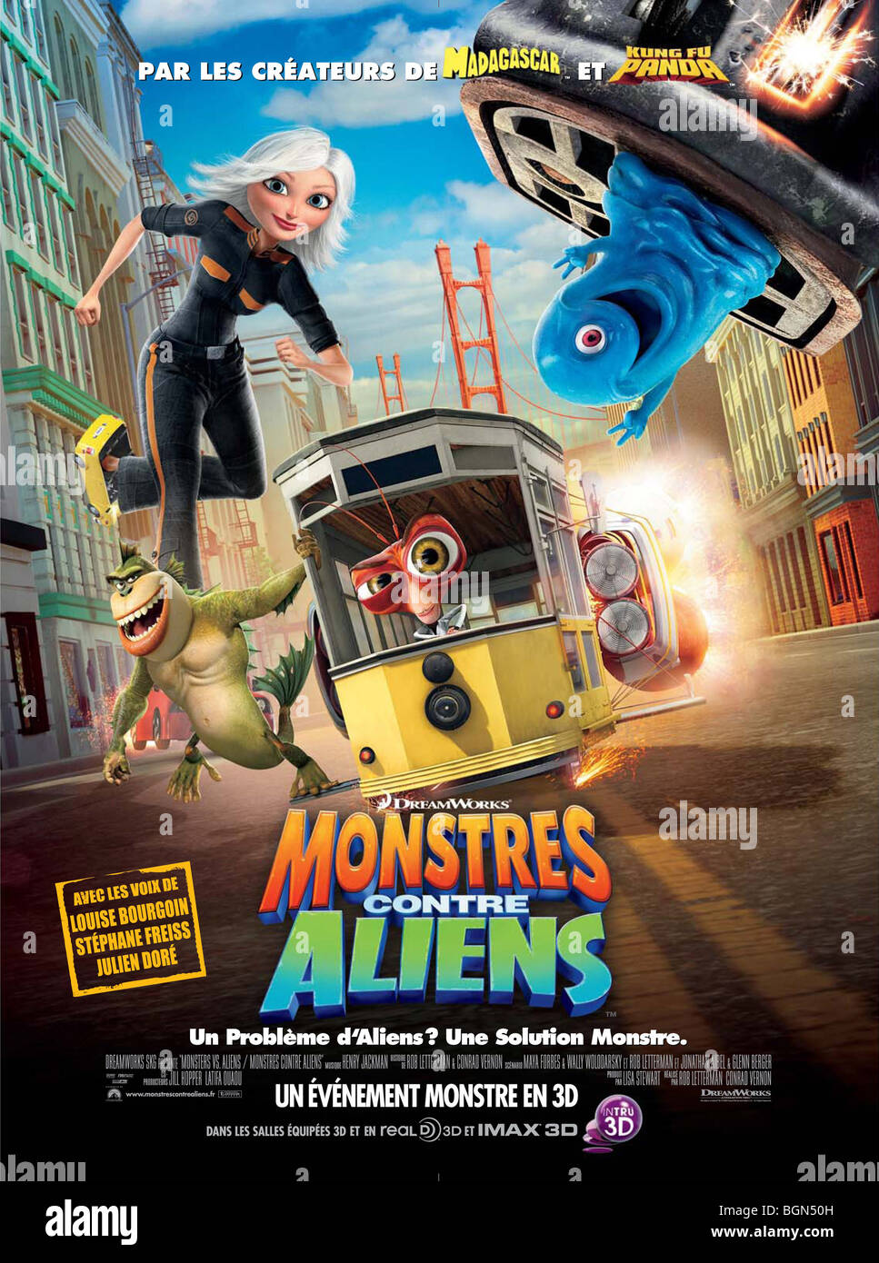 Monsters vs Aliens Year : 2009 Director : Rob Letterman, Conrad Vernon   Animation Movie poster (Fr) - Stock Image