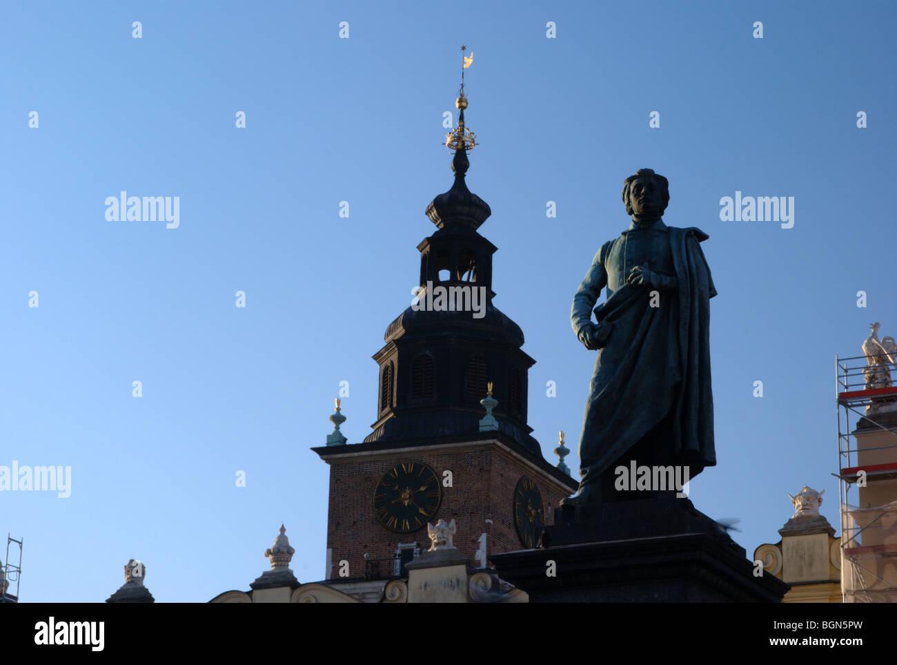 Adam Mickiewicz statue in Krakow market - Stock Image