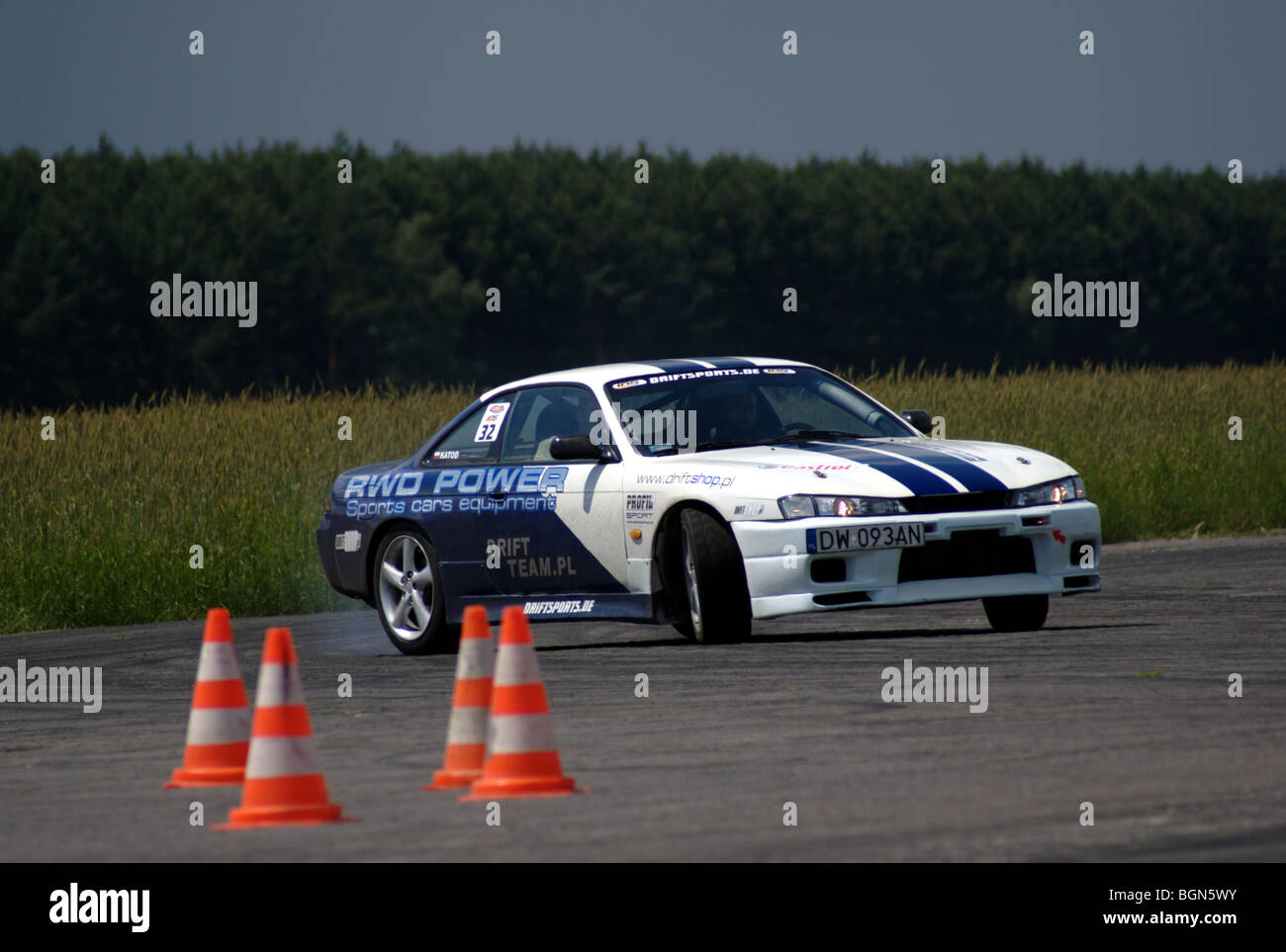 Nissan 200 SX S14 on drifting show - Stock Image