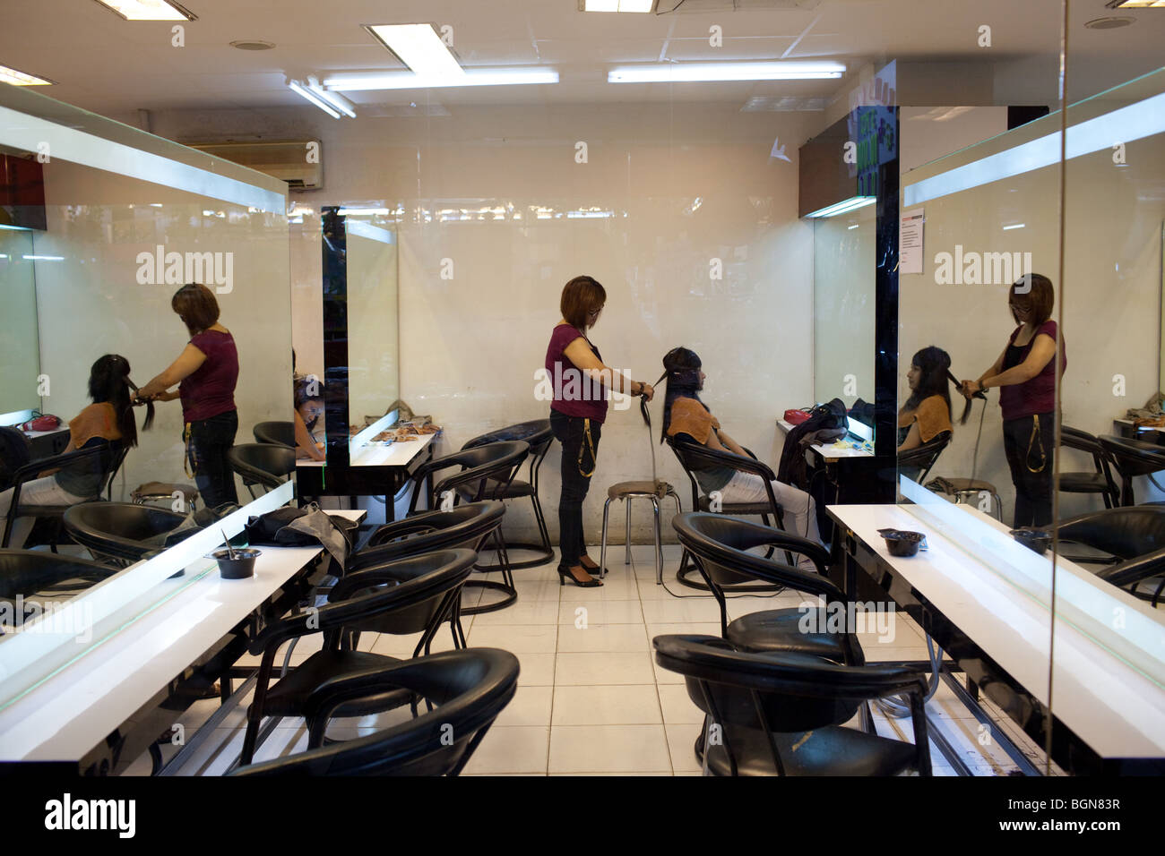A hairdresser salon for women in a shopping mall in Jakarta, Java, Indonesia - Stock Image
