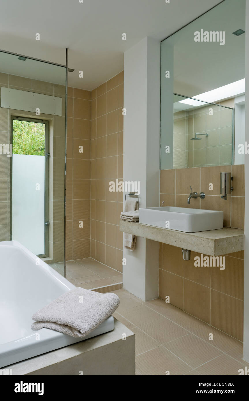 Ground floor bathroom with Philippe Starck sanitary ware - Stock Image