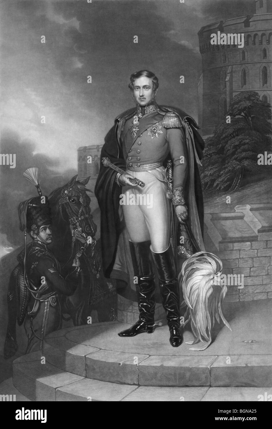 Portrait engraving print c1847 of Prince Albert of Saxe-Coburg and Gotha (1819 - 1861), husband of Queen Victoria. - Stock Image