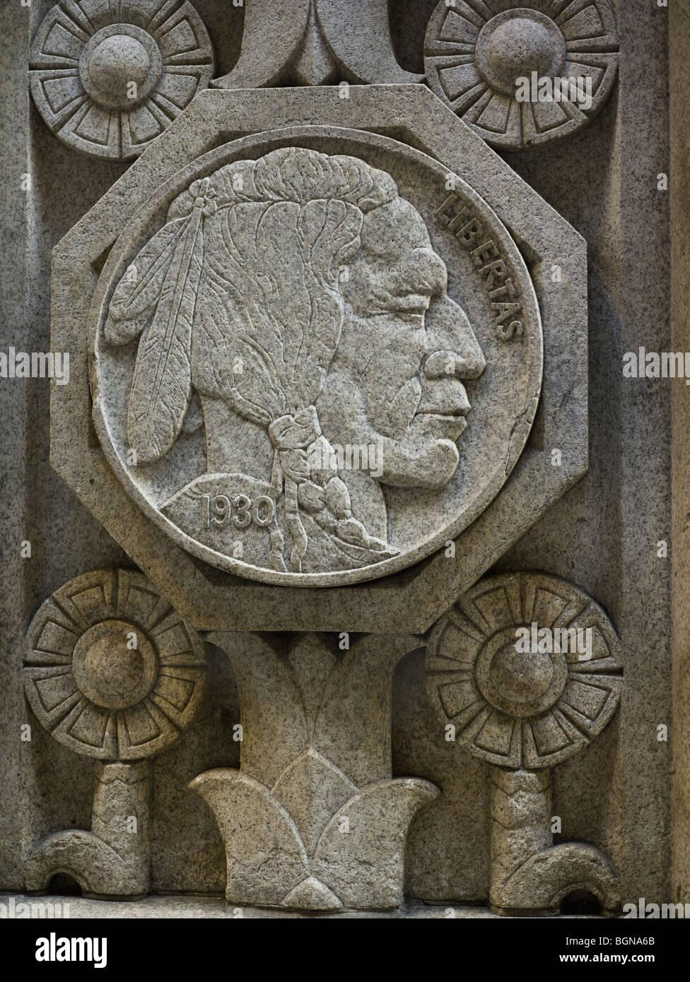 20 Exchange Place New York, Art Deco plaque: native American
