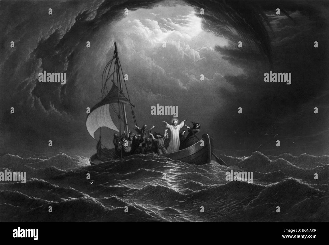 Print entitled 'Christ Stilling the Tempest' and depicting one of the miracles of Jesus - calming a storm - Stock Image