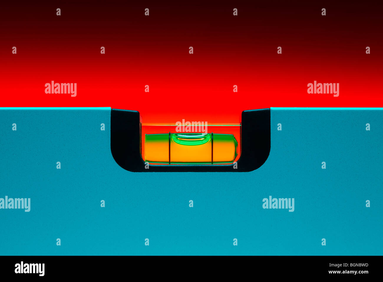 Cyan Spirit Level Stock Photo