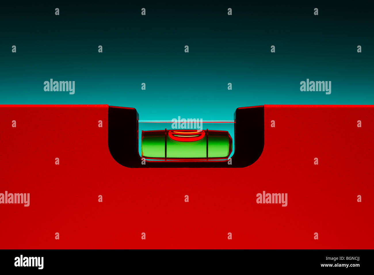 Red Spirit Level - Stock Image