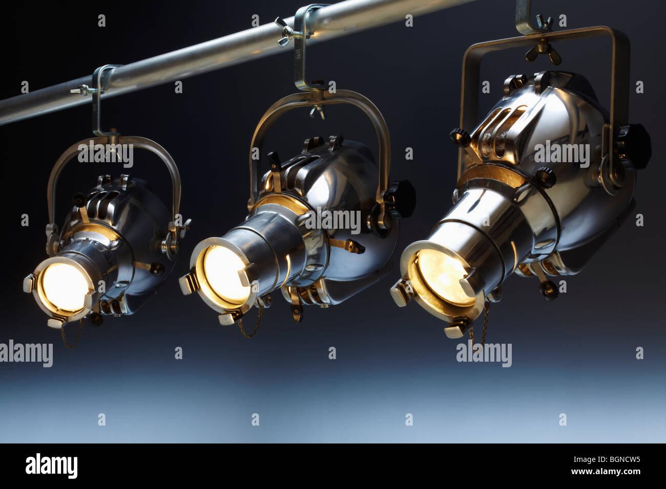 Three overhead spotlights Stock Photo