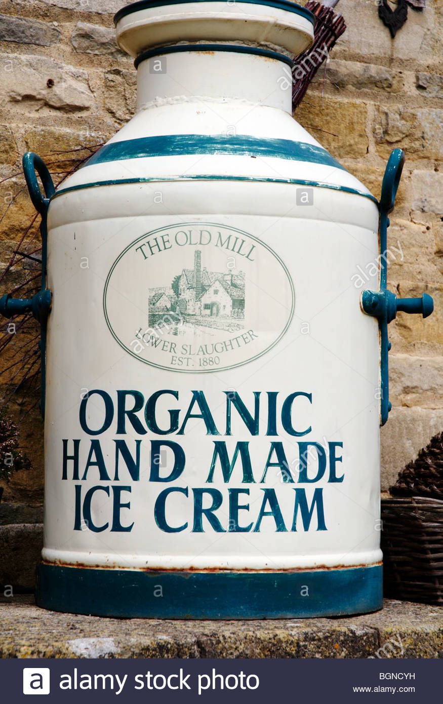 old fashioned ice cream churn from the old mill in lower slaughter in the cotswolds Stock Photo