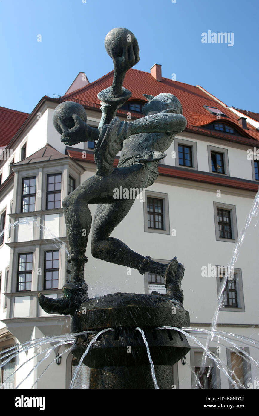 Fountain in the market square of Torgau, Germany Stock Photo