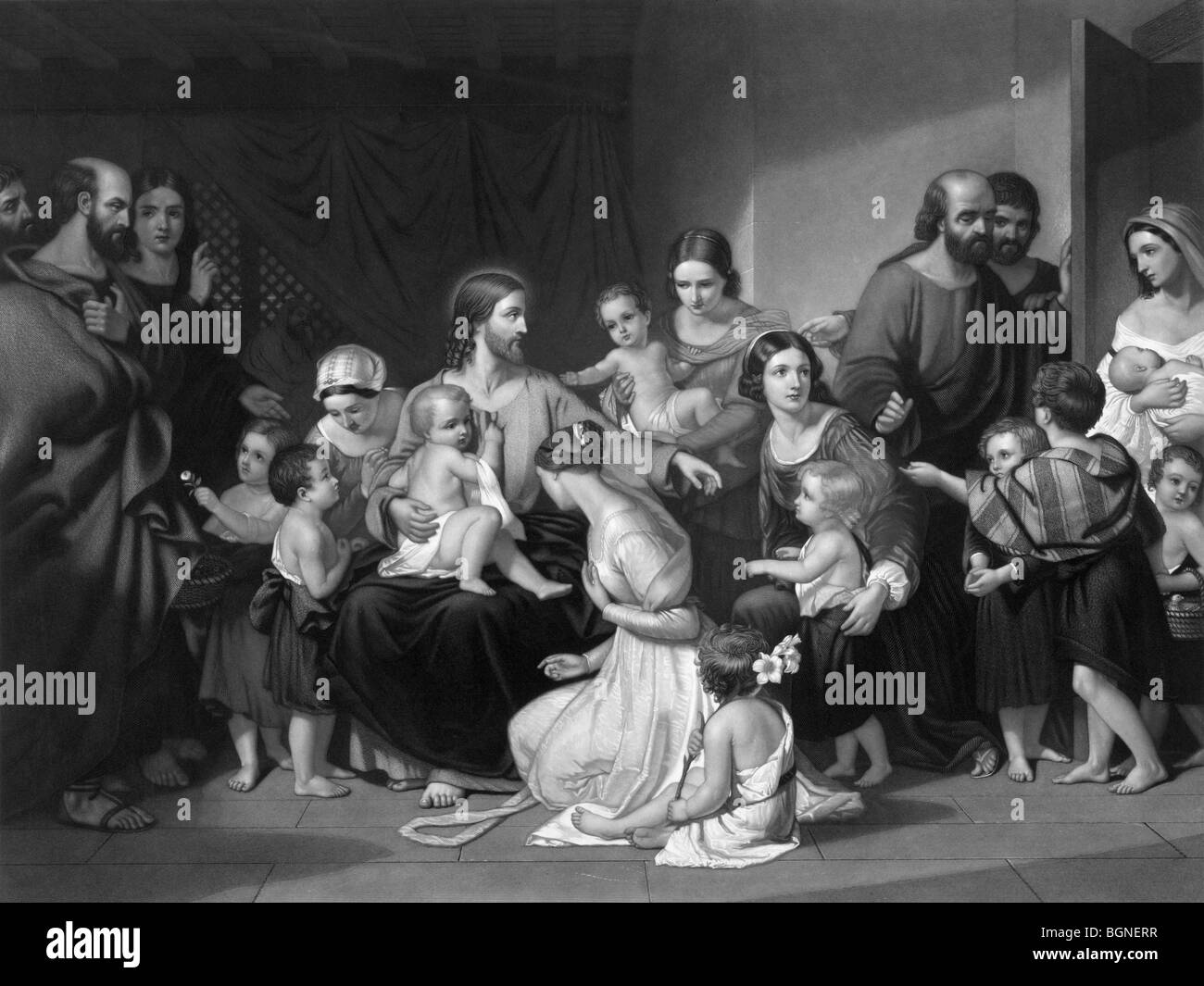 Print c1863 entitled 'Christ Blessing Little Children' and depicting events outlined in the Gospels of Mark, - Stock Image