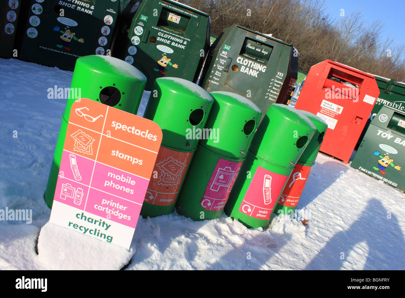 Recycling bins at Charlton Lane Community Recycling Centre, Shepperton, Surrey, England, Great Britain, UK, Europe - Stock Image