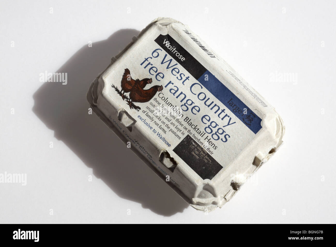 Egg box closed - Waitrose 6 West Country free range eggs Columbian Blacktail Hens isolated on white background  - Stock Image