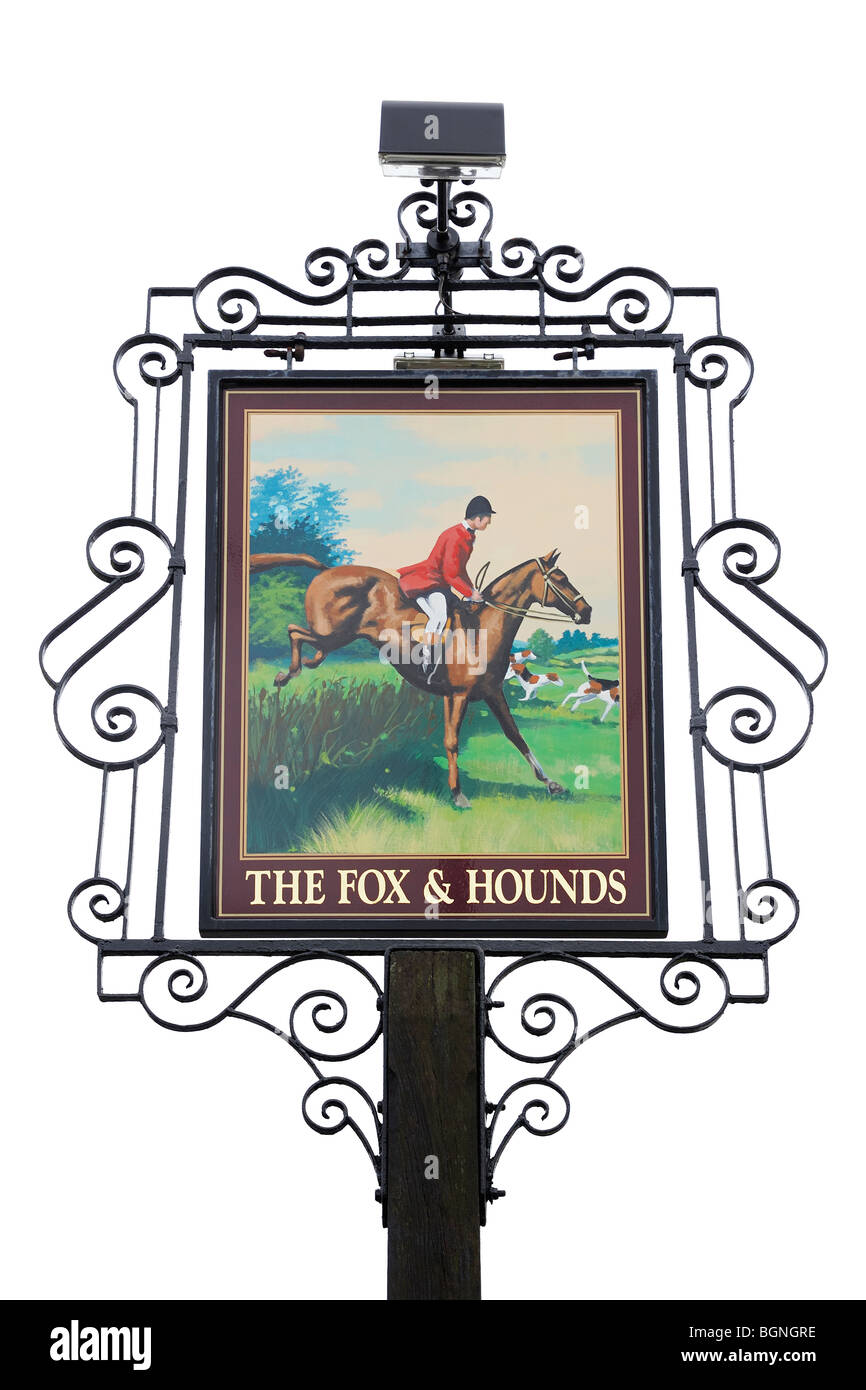 Pub Sign Outside a Country Inn, Oxfordshire, United Kingdom. Stock Photo