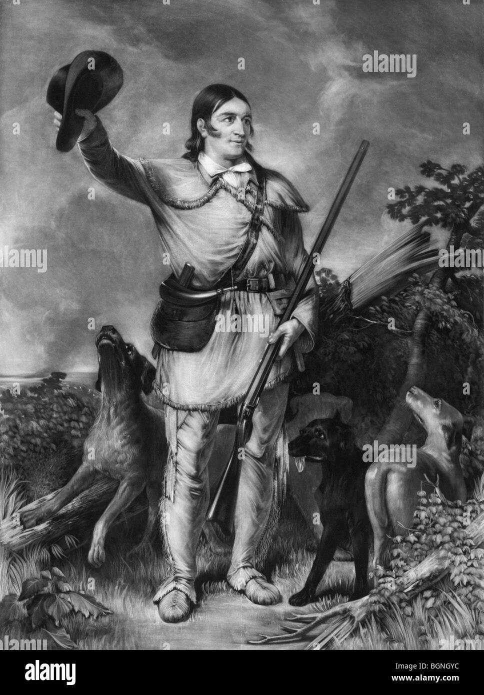 Portrait c1839 of Davy Crockett (1786 - 1836) - the American frontiersman and folk hero killed in the Battle of - Stock Image