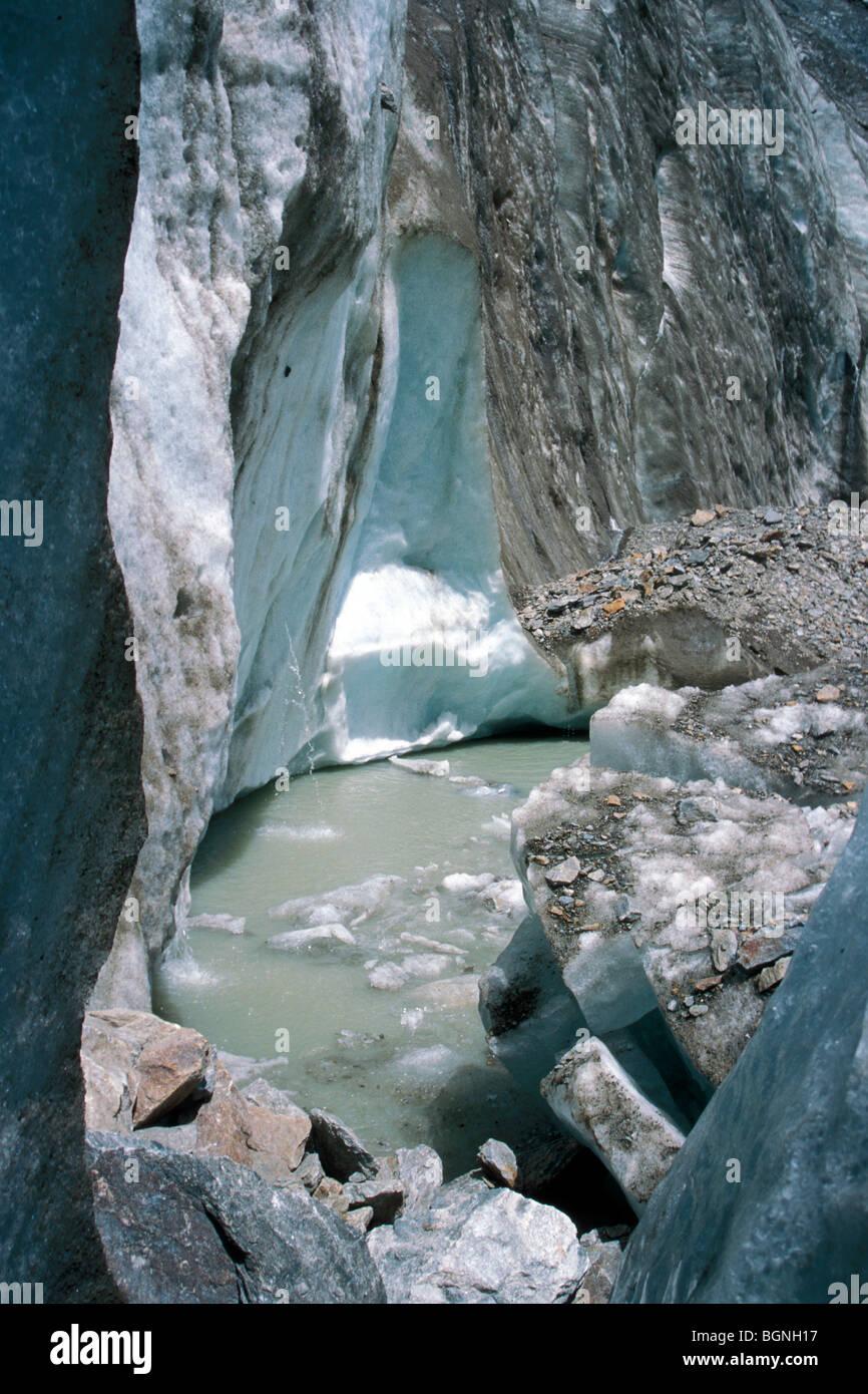 Glacier del Miage, the Alps, Italy - Stock Image