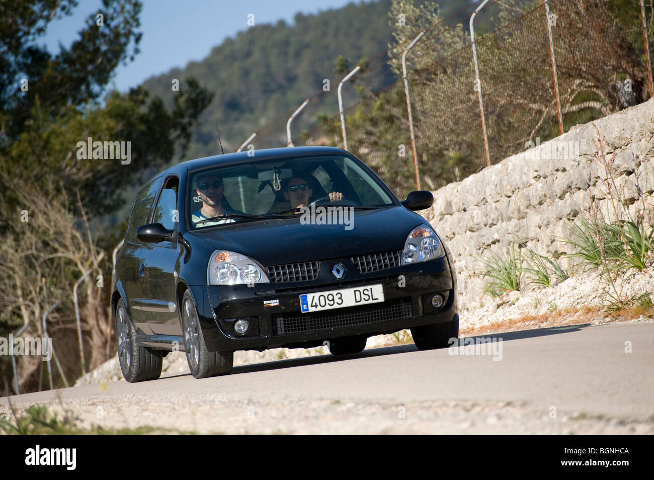 Black Renault Clio Sport Car Being Driven In Spain Stock Photo Alamy