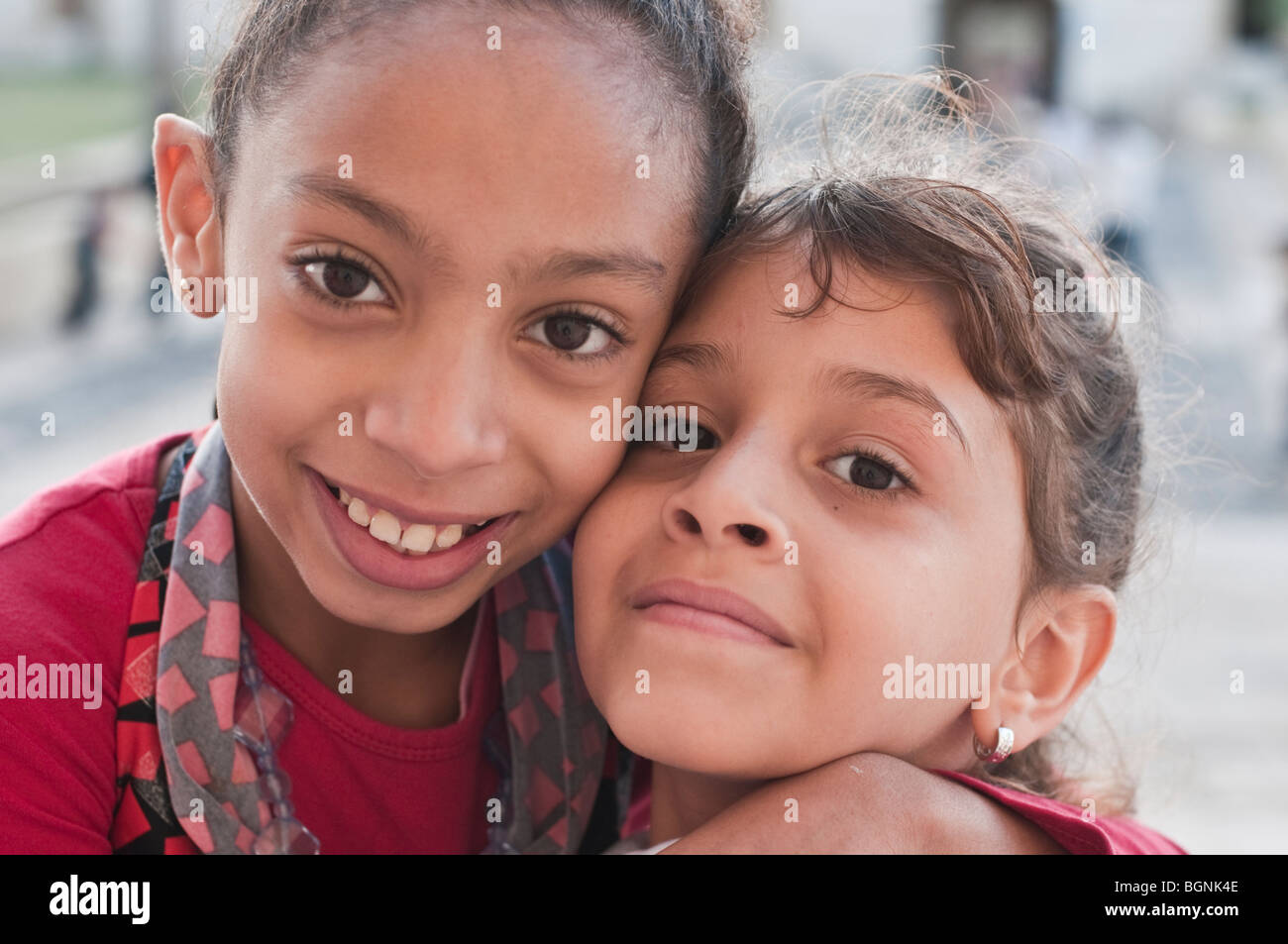Two lovely Egyptian young girls with large almond eyes - Stock Image