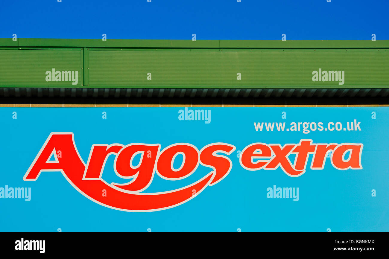 an argos extra sign, uk - Stock Image
