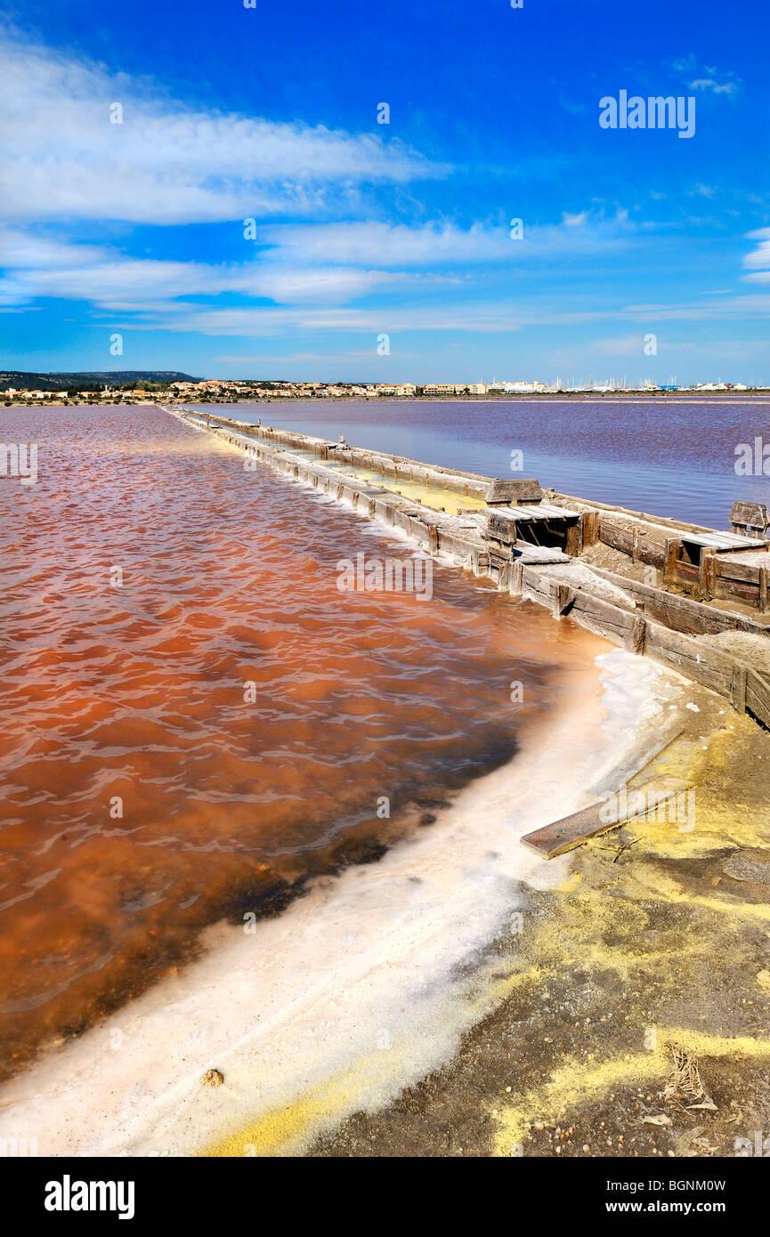 Salt pan, Gruissan, France. - Stock Image