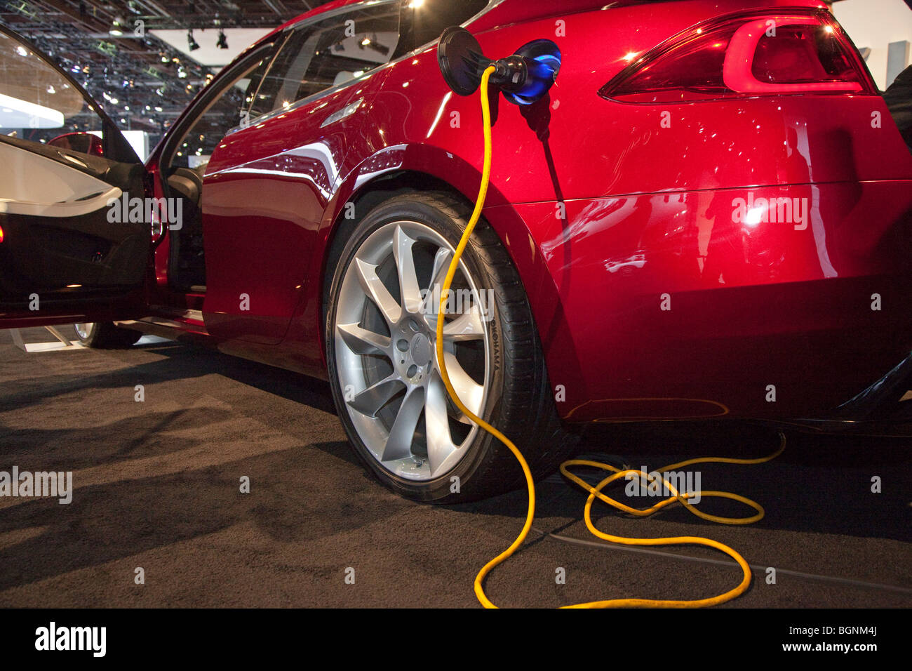 The Tesla Model S electric sports car - Stock Image